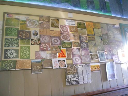 Crop circle noticeboard in the pub