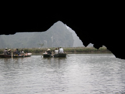 "Third Grotto ""Hang Ba"", view from within the cave. Tam Coc, Vietnam."