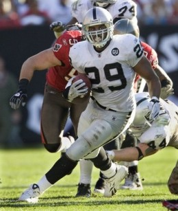 Michael Bush is running hard in place of the injured Darren McFadden.