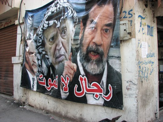 "Poster in Palestinian refugee camp that says ""Men that won't die.""  Courtesy of Gianni Filippi."