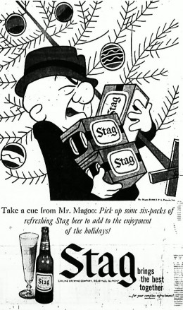 """Irritated Tulsan notes that he once thought Magoo was blind, until he saw this ad. Now he realizes Magoo's clumsiness came from """"raging alcoholism."""""""