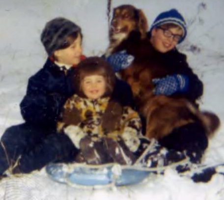 """Three rubbery kids and a dog: me, my niece Liz, brother Spence and Scoobie on the """"Flying Saucer Hill"""" circa 1971"""