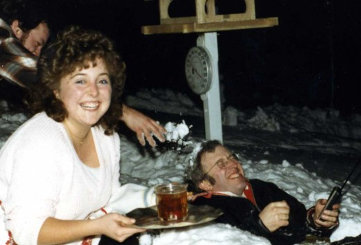 My niece Liz and brother Spence prepare my brother Steve for his maiden trip down the luge run, Christmas 1988