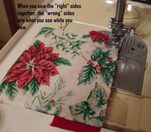 "Sew right sides together for each ""strip"" in the stocking."