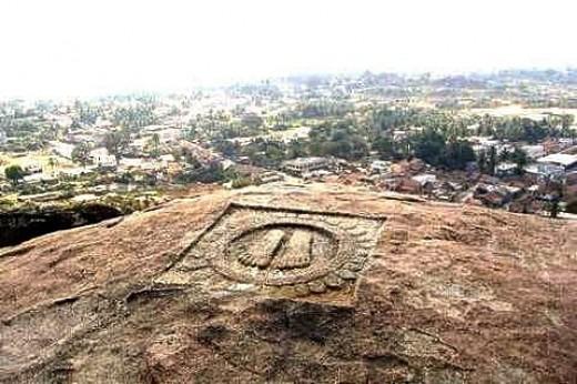 Footprints of Chandragupt Maurya at Chandragiri Hill, Shravanabelagola in Karnataka State, India.
