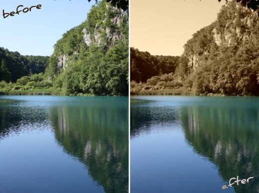 Changed picture to Sepia and added the original color on the lake.