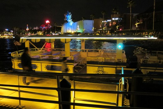 Complimentary shuttle boat ride between the three points in Downtown Disney