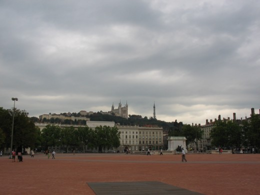 Lyon, France - Place Bellecour and Fourvière view
