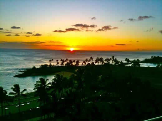 The sun sets between the Honu/Second Lagoon and Naia/Third Lagoon at Ko Olina.