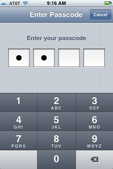 Enter your existing passcode to access the Passcode Lock screen.