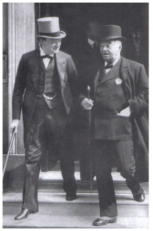 Winston Churchill (left), First Lord of the Admiralty and Lord Fisher (right) after a meeting of the Committee of Imperial Defence. 1913