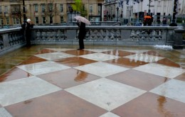 Wet Tourists in Trafalgar Square