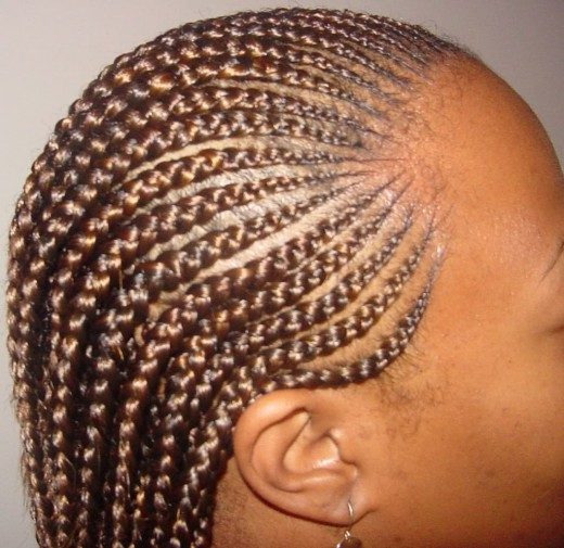 Cornrows hairstyle.