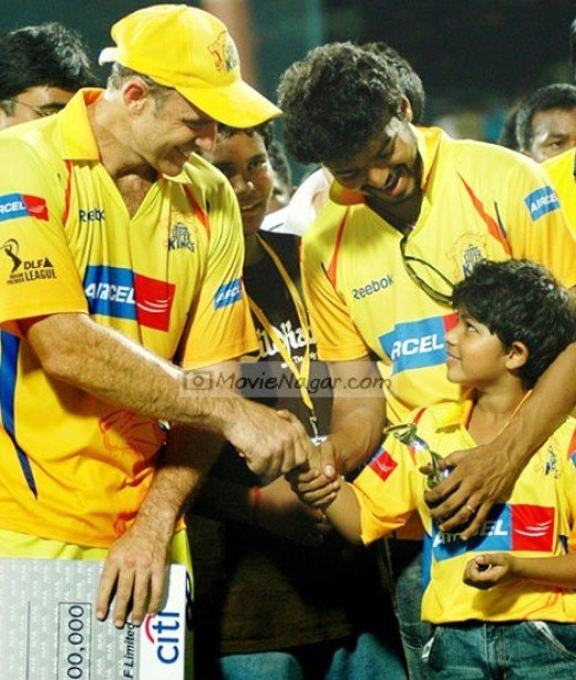Vijay and his son in Chennai Super Kings Cricket Match