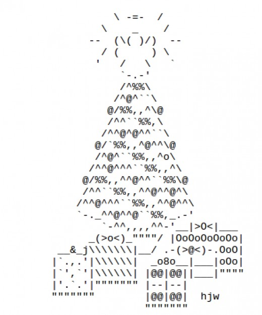One Line Ascii Art For Texting : Christmas trees in ascii text art holidappy