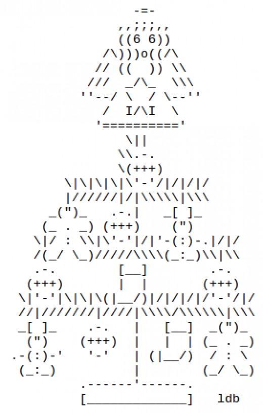 One Line Ascii Art Happy Birthday : Christmas trees in ascii text art holidappy