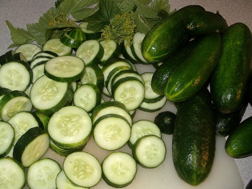 Delicious sliced cucumbers.