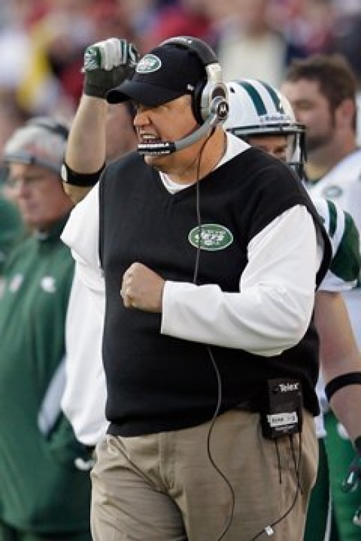Rex Ryan coach of the New York Jets liking what he is seeing on the sidelines during NYJ win against the Redskins in week 13