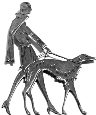 Common Art Deco brooch motif of a woman walking her dog on a leash.