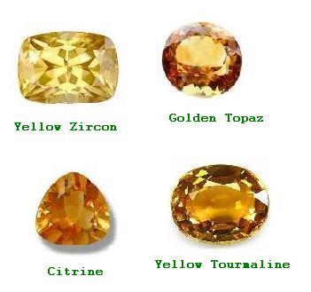 Substitute Stones of Yellow Sapphire : Yellow Zircon, Golden Topaz, Citrine and Yellow Tourmaline.