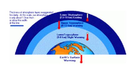 The amounts of each gas present in the atmosphere decreases with elevation.