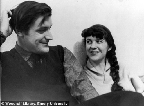Sylvia Plath and Ted Hughes as newlyweds