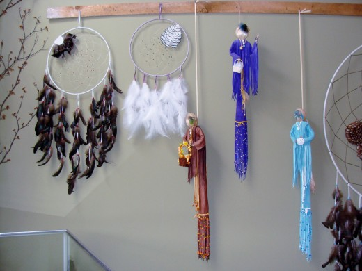 Dream catchers and dolls.
