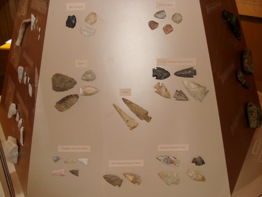 Examples of arrowheads that were used as tools and for hunting.