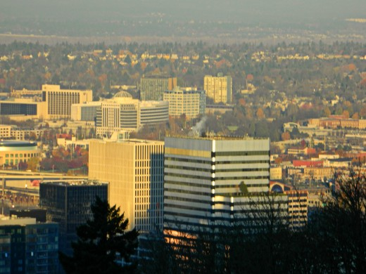 up on the hill over the town, portland oregon