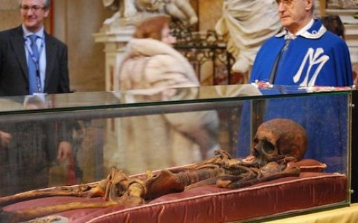 St. Anthony's remains enclosed in a sarcophagus in the Basilica of Padua.