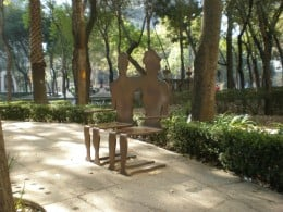 Street Art Exhibit D: Couples Bench. Visit Mexico and Interact with its Urban Furniture.