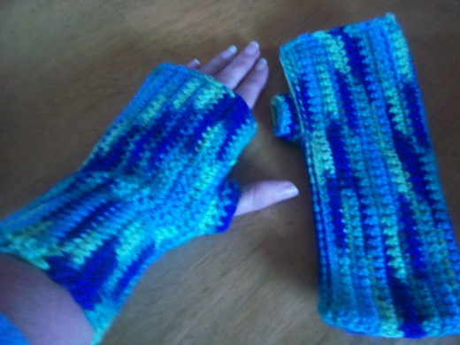 Crocheted Wrist Warmers; one of the many items I have on display at a local shop.