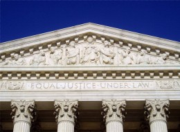 The inscription Equal Justice Under Law as seen on the frieze of the United States Supreme Court building