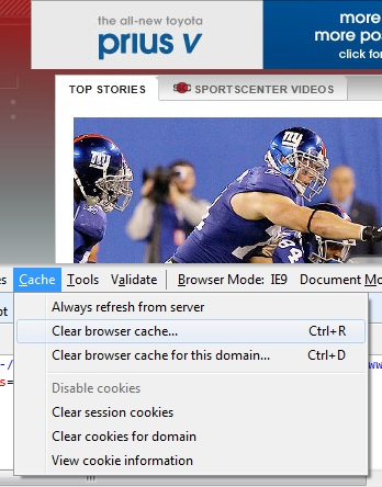 The Cache drop-down menu in the Developer Tools section of Internet Explorer.