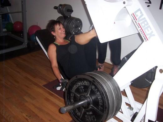 Our client doing a 500 lb leg press.