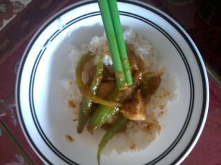 Stir fry curry serve with jasmine rice