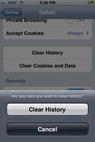 The Clear History and Clear Cookies and Data buttons on the iPhone.