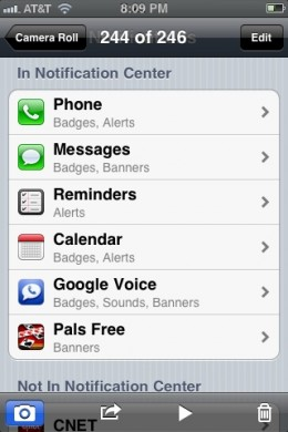 Take a screenshot of your notification settings to illustrate how notifications are set up on your iPhone.