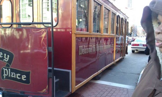 The Trolley going down 3rd street.