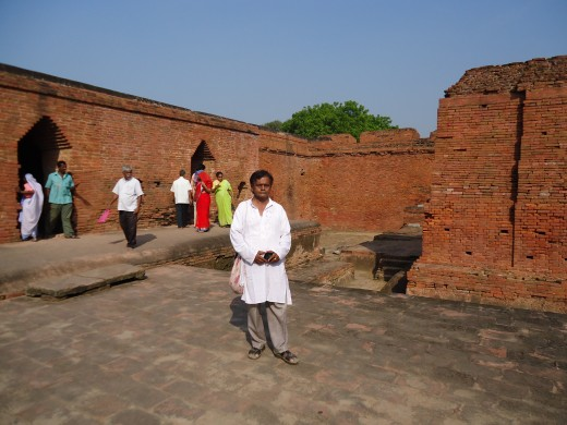 Another part of Nalanda ruins.-Author seen infront
