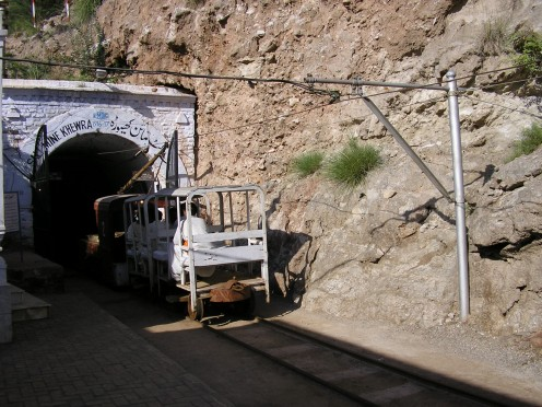 The little train that takes people into the mine.