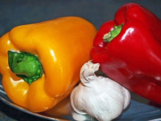 Red and yellow peppers and garlic add powerful anti-inflammatory nutrients to our diet.