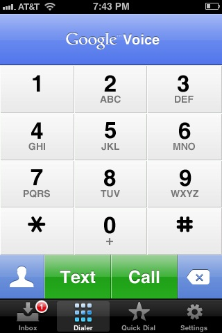 Send text messages from your Google Voice's Dialer screen.