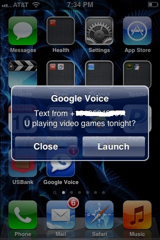 Set your iPhone up so that text messages to your Google Voice phone number are displayed in an alert bubble.