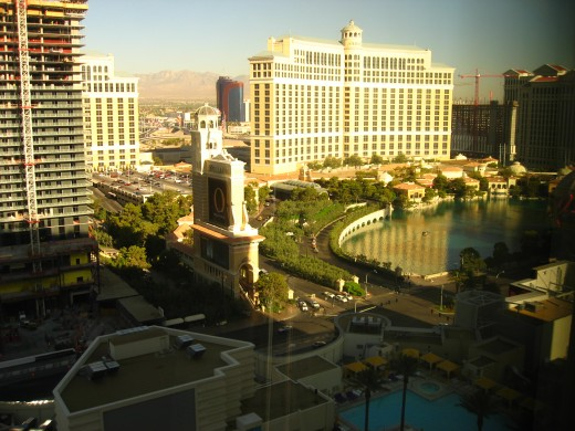 View of Bellagio in Las Vegas from Planet Hollywood