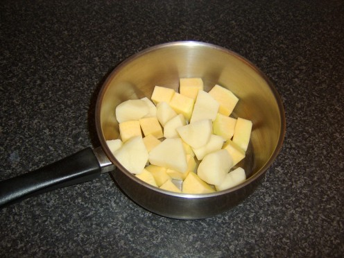 Chopped potato and Swede for clapshot