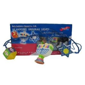 Chanukah Light String - Happy colorful house decoration.