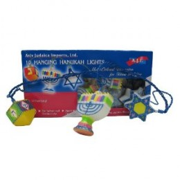 Chanukah Light String - Happy colorful house decoration.