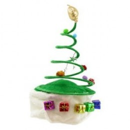 Christmas Tree Coil Spring Hat - Cool hat for young girls, with small shinny Christmas gifts around it.