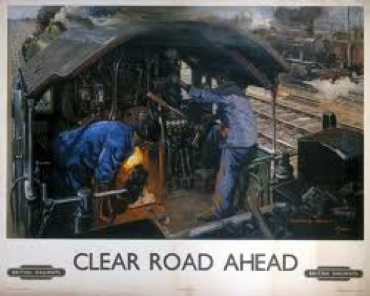 Terence Cuneo painting of an ex-LMS locomotive crew working hard underway. This was near the end of steam. Several artists of the Sixties charted the demise of steam traction on Britain's railways